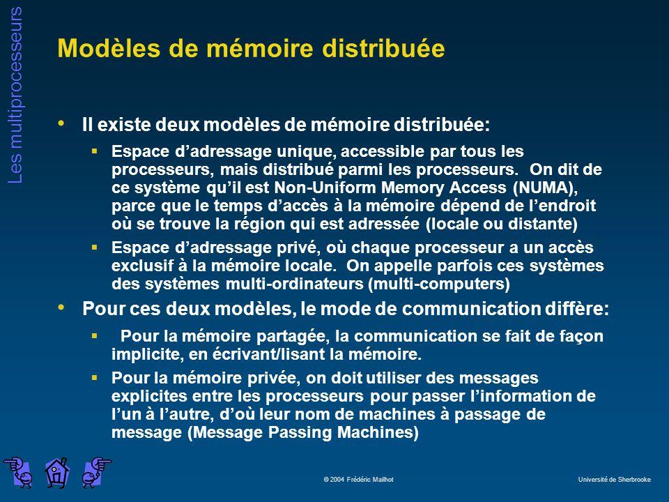 Les multiprocesseurs © 2004 Frédéric Mailhot Université de Sherbrooke Modèles de mémoire distribuée Il existe deux modèles de mémoire distribuée: Espace dadressage unique, accessible par tous les processeurs, mais distribué parmi les processeurs.