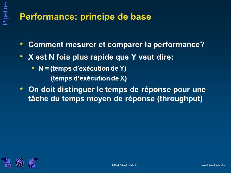 Pipeline © 2004 Frédéric Mailhot Université de Sherbrooke Performance: principe de base Comment mesurer et comparer la performance? X est N fois plus