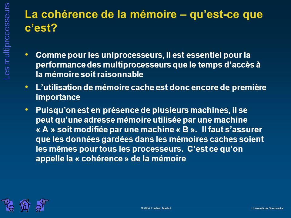 Les multiprocesseurs © 2004 Frédéric Mailhot Université de Sherbrooke La cohérence de la mémoire – quest-ce que cest? Comme pour les uniprocesseurs, i