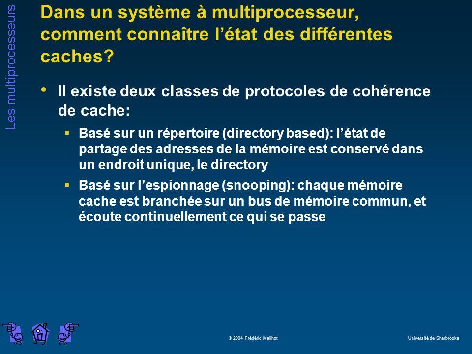 Les multiprocesseurs © 2004 Frédéric Mailhot Université de Sherbrooke Dans un système à multiprocesseur, comment connaître létat des différentes cache