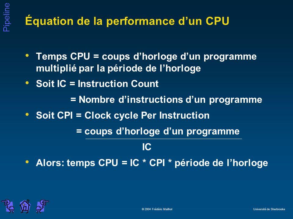 Pipeline © 2004 Frédéric Mailhot Université de Sherbrooke Équation de la performance dun CPU Temps CPU = coups dhorloge dun programme multiplié par la