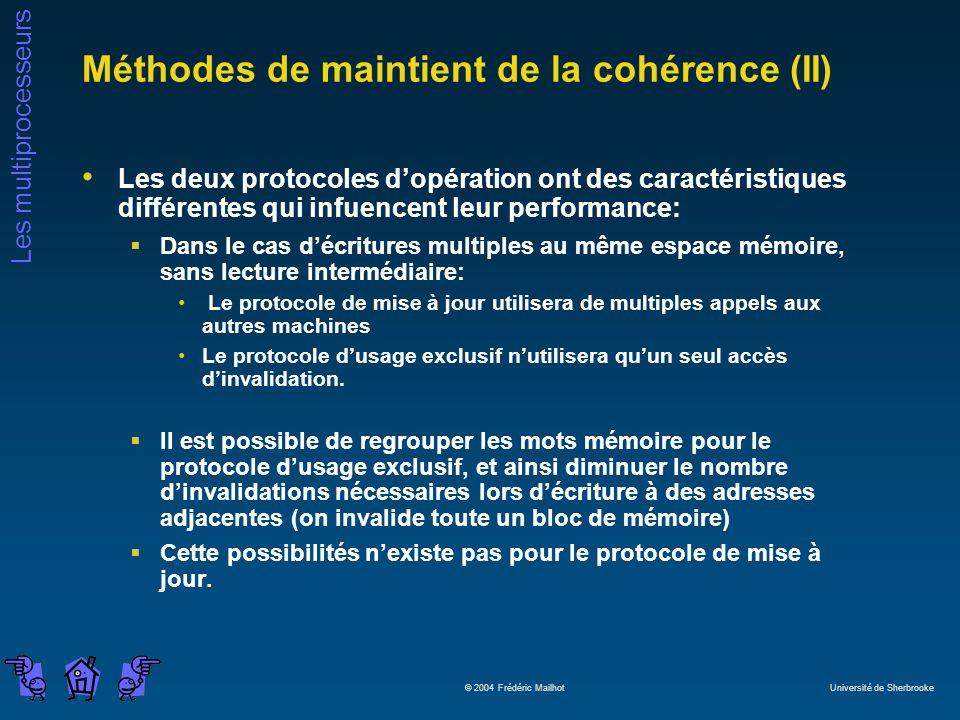 Les multiprocesseurs © 2004 Frédéric Mailhot Université de Sherbrooke Méthodes de maintient de la cohérence (II) Les deux protocoles dopération ont de
