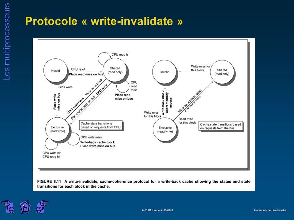 Les multiprocesseurs © 2004 Frédéric Mailhot Université de Sherbrooke Protocole « write-invalidate »
