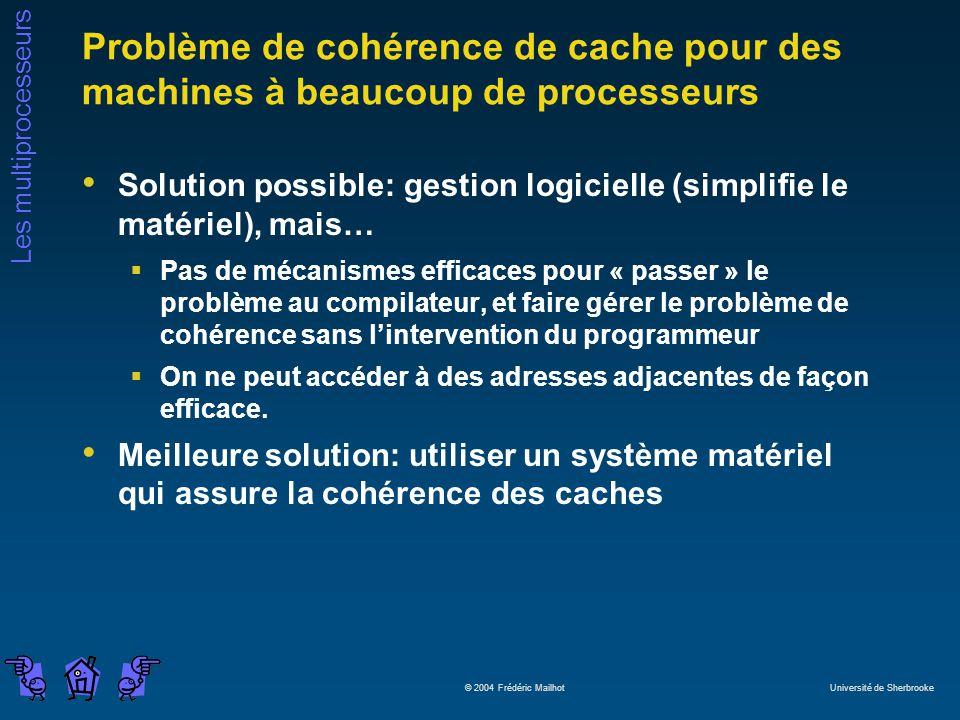 Les multiprocesseurs © 2004 Frédéric Mailhot Université de Sherbrooke Problème de cohérence de cache pour des machines à beaucoup de processeurs Solut