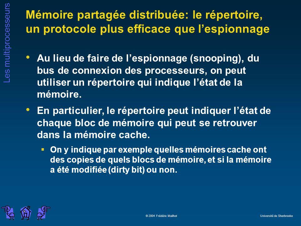 Les multiprocesseurs © 2004 Frédéric Mailhot Université de Sherbrooke Mémoire partagée distribuée: le répertoire, un protocole plus efficace que lespi