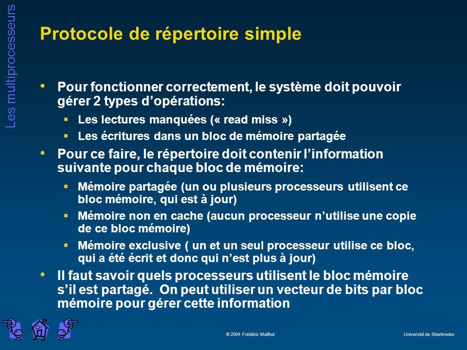 Les multiprocesseurs © 2004 Frédéric Mailhot Université de Sherbrooke Protocole de répertoire simple Pour fonctionner correctement, le système doit po