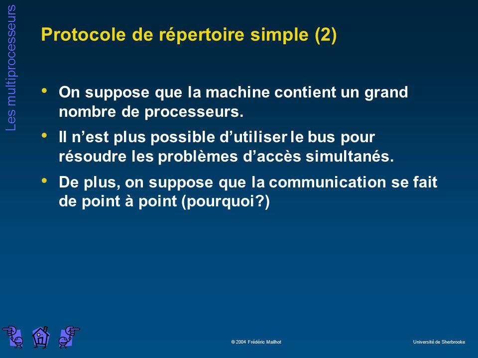 Les multiprocesseurs © 2004 Frédéric Mailhot Université de Sherbrooke Protocole de répertoire simple (2) On suppose que la machine contient un grand nombre de processeurs.