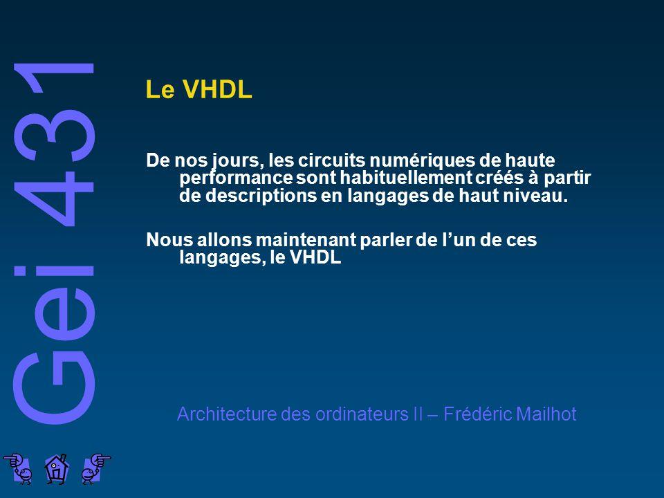 Gei 431 Architecture des ordinateurs II – Frédéric Mailhot Le VHDL De nos jours, les circuits numériques de haute performance sont habituellement créés à partir de descriptions en langages de haut niveau.