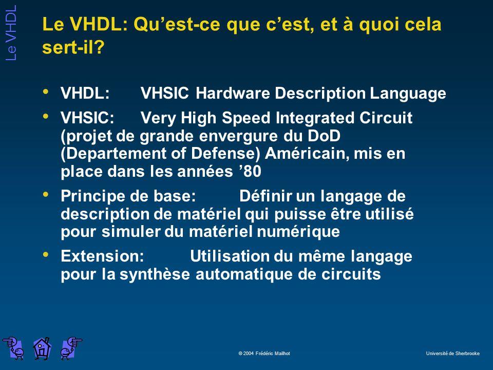 Le VHDL © 2004 Frédéric Mailhot Université de Sherbrooke Le VHDL: Quest-ce que cest, et à quoi cela sert-il? VHDL: VHSIC Hardware Description Language