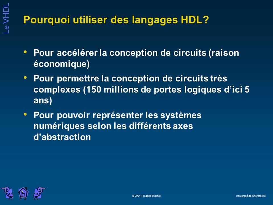 Le VHDL © 2004 Frédéric Mailhot Université de Sherbrooke Pourquoi utiliser des langages HDL? Pour accélérer la conception de circuits (raison économiq