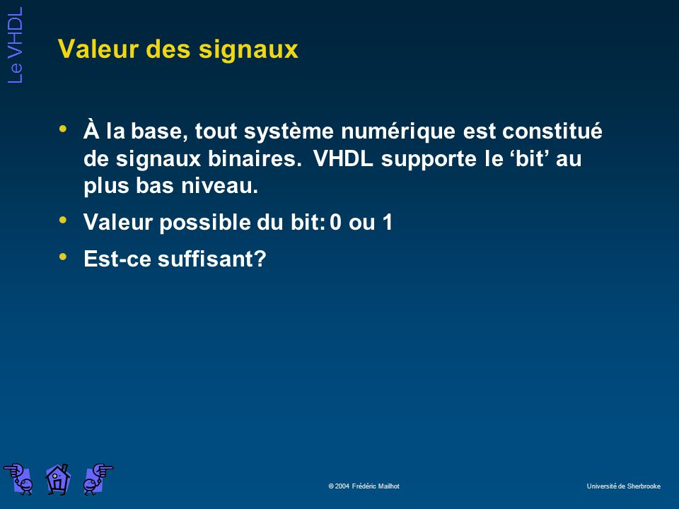 Le VHDL © 2004 Frédéric Mailhot Université de Sherbrooke Valeur des signaux À la base, tout système numérique est constitué de signaux binaires. VHDL
