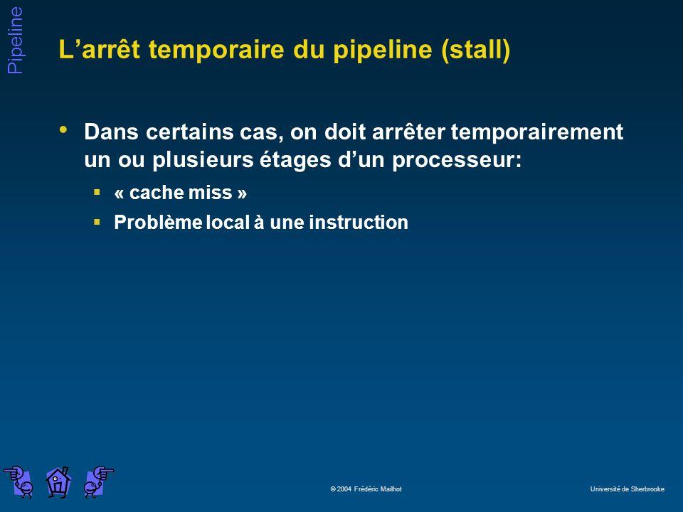 Pipeline © 2004 Frédéric Mailhot Université de Sherbrooke Larrêt temporaire du pipeline (stall) Dans certains cas, on doit arrêter temporairement un ou plusieurs étages dun processeur: « cache miss » Problème local à une instruction