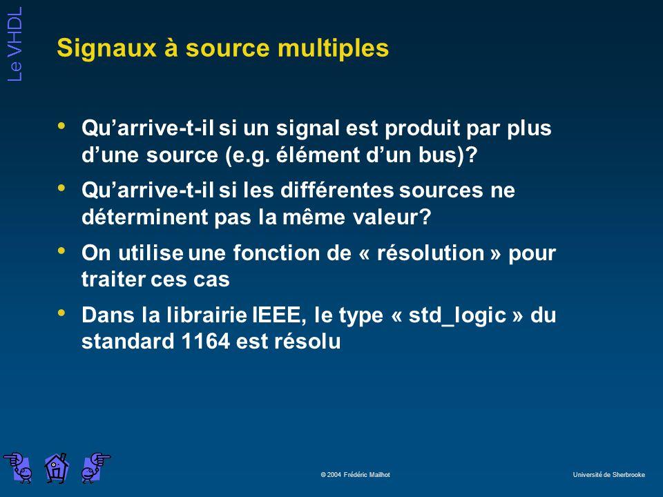Le VHDL © 2004 Frédéric Mailhot Université de Sherbrooke Signaux à source multiples Quarrive-t-il si un signal est produit par plus dune source (e.g.