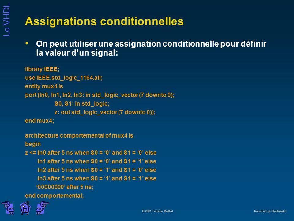 Le VHDL © 2004 Frédéric Mailhot Université de Sherbrooke Assignations conditionnelles On peut utiliser une assignation conditionnelle pour définir la