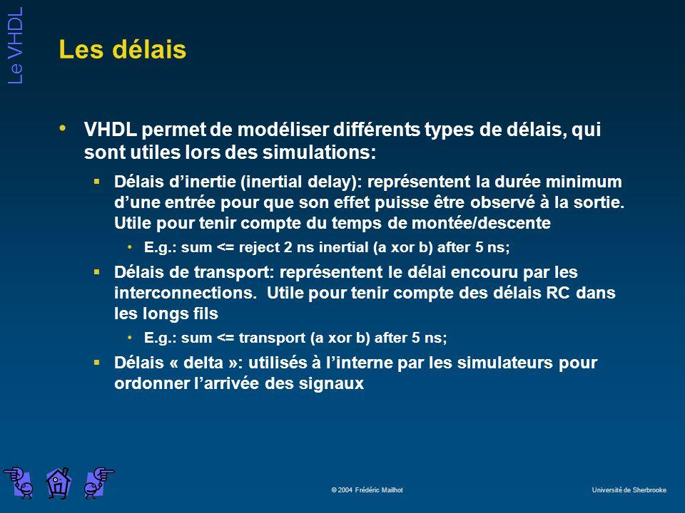 Le VHDL © 2004 Frédéric Mailhot Université de Sherbrooke Les délais VHDL permet de modéliser différents types de délais, qui sont utiles lors des simulations: Délais dinertie (inertial delay): représentent la durée minimum dune entrée pour que son effet puisse être observé à la sortie.