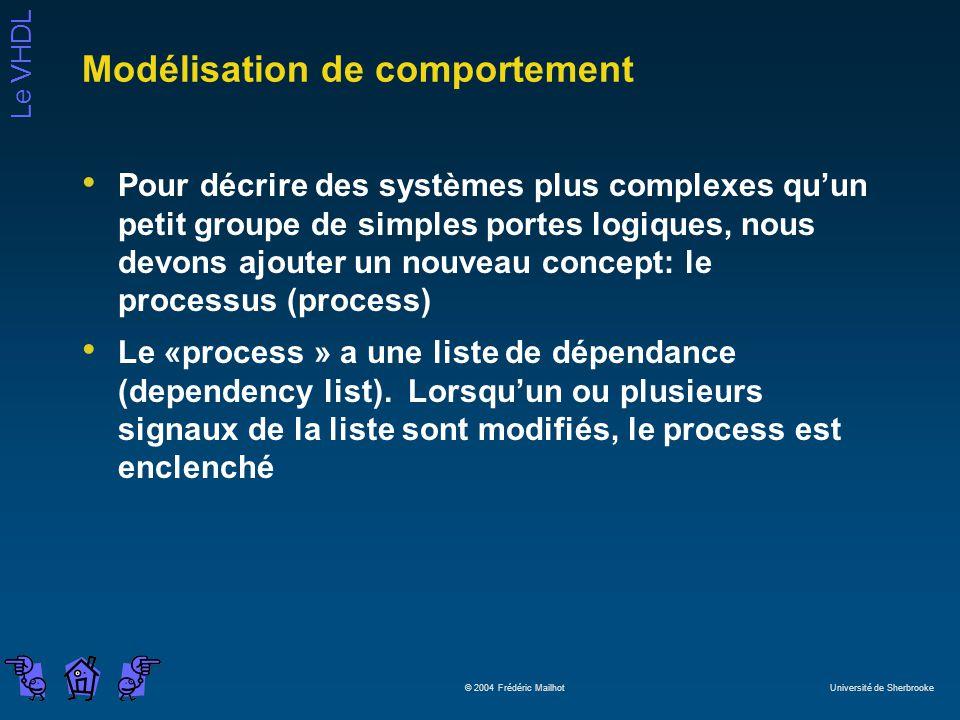 Le VHDL © 2004 Frédéric Mailhot Université de Sherbrooke Modélisation de comportement Pour décrire des systèmes plus complexes quun petit groupe de simples portes logiques, nous devons ajouter un nouveau concept: le processus (process) Le «process » a une liste de dépendance (dependency list).