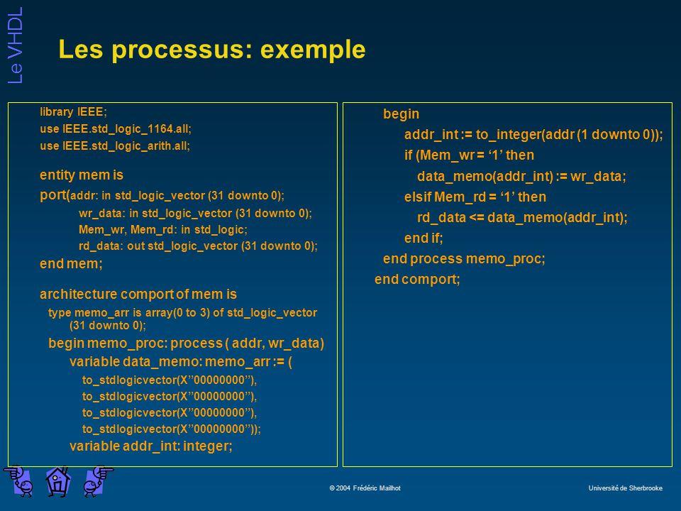Le VHDL © 2004 Frédéric Mailhot Université de Sherbrooke Les processus: exemple library IEEE; use IEEE.std_logic_1164.all; use IEEE.std_logic_arith.all; entity mem is port( addr: in std_logic_vector (31 downto 0); wr_data: in std_logic_vector (31 downto 0); Mem_wr, Mem_rd: in std_logic; rd_data: out std_logic_vector (31 downto 0); end mem; architecture comport of mem is type memo_arr is array(0 to 3) of std_logic_vector (31 downto 0); begin memo_proc: process ( addr, wr_data) variable data_memo: memo_arr := ( to_stdlogicvector(X00000000), to_stdlogicvector(X00000000)); variable addr_int: integer; begin addr_int := to_integer(addr (1 downto 0)); if (Mem_wr = 1 then data_memo(addr_int) := wr_data; elsif Mem_rd = 1 then rd_data <= data_memo(addr_int); end if; end process memo_proc; end comport;