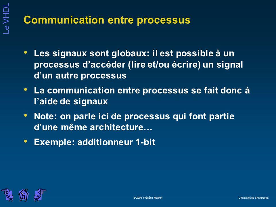 Le VHDL © 2004 Frédéric Mailhot Université de Sherbrooke Communication entre processus Les signaux sont globaux: il est possible à un processus daccéd