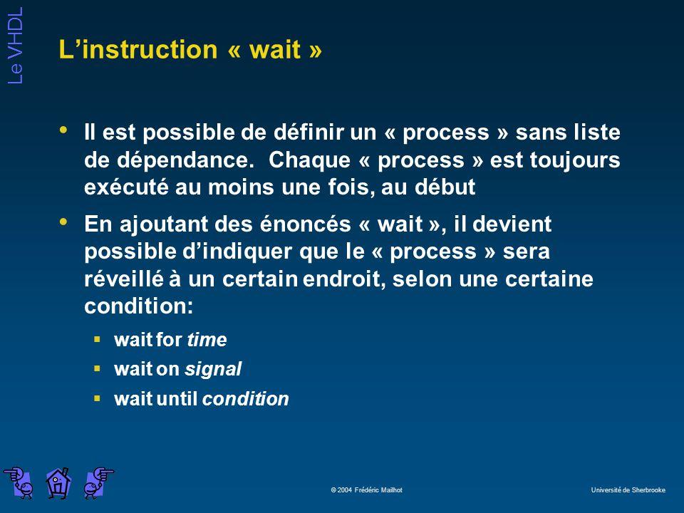 Le VHDL © 2004 Frédéric Mailhot Université de Sherbrooke Linstruction « wait » Il est possible de définir un « process » sans liste de dépendance. Cha