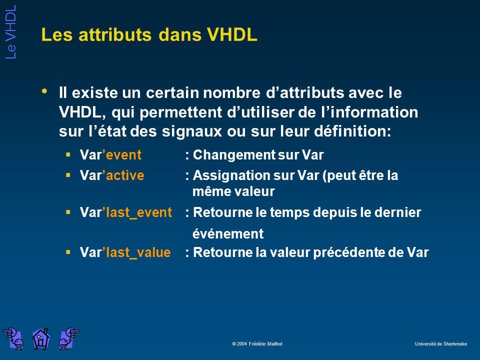Le VHDL © 2004 Frédéric Mailhot Université de Sherbrooke Les attributs dans VHDL Il existe un certain nombre dattributs avec le VHDL, qui permettent d