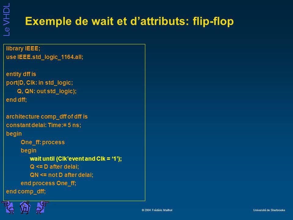 Le VHDL © 2004 Frédéric Mailhot Université de Sherbrooke Exemple de wait et dattributs: flip-flop library IEEE; use IEEE.std_logic_1164.all; entity df