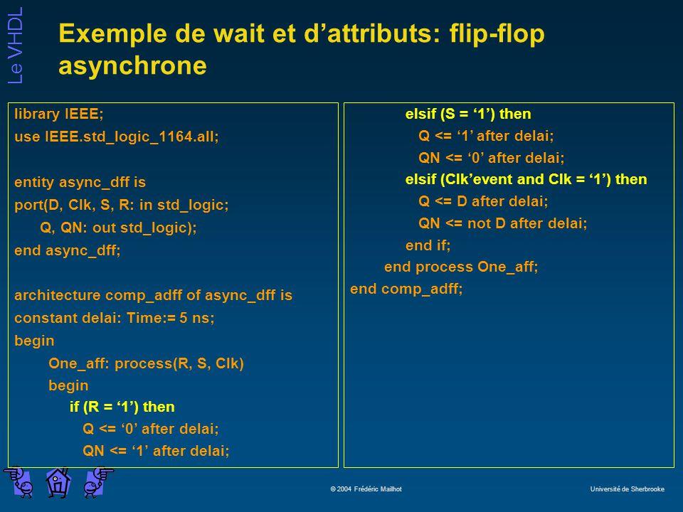 Le VHDL © 2004 Frédéric Mailhot Université de Sherbrooke Exemple de wait et dattributs: flip-flop asynchrone library IEEE; use IEEE.std_logic_1164.all