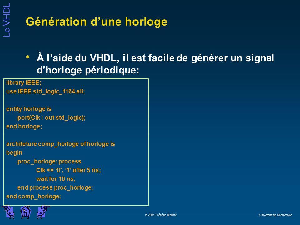 Le VHDL © 2004 Frédéric Mailhot Université de Sherbrooke Génération dune horloge À laide du VHDL, il est facile de générer un signal dhorloge périodiq