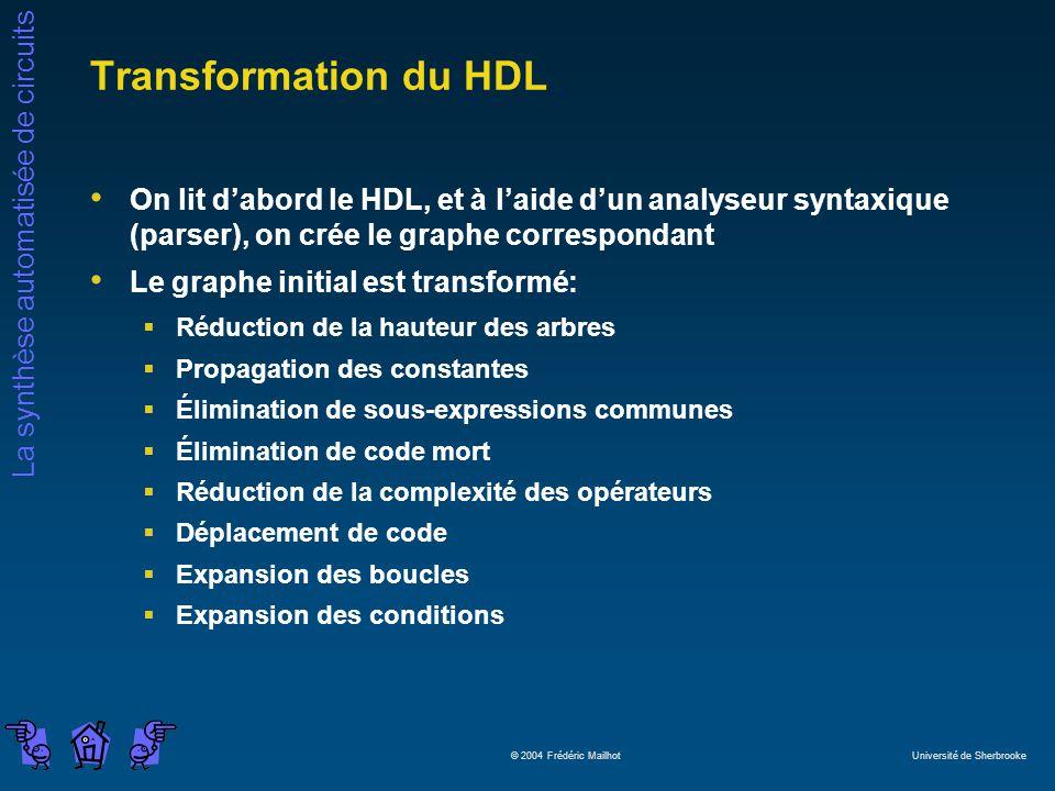 La synthèse automatisée de circuits © 2004 Frédéric Mailhot Université de Sherbrooke Transformation du HDL On lit dabord le HDL, et à laide dun analys