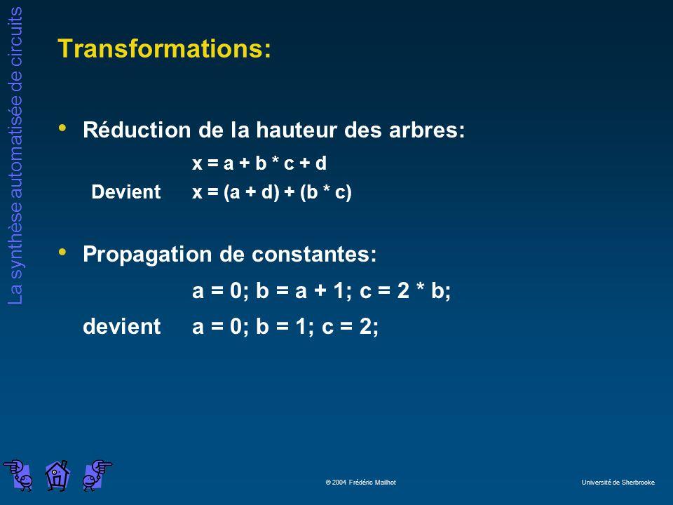 La synthèse automatisée de circuits © 2004 Frédéric Mailhot Université de Sherbrooke Transformations: Réduction de la hauteur des arbres: x = a + b *