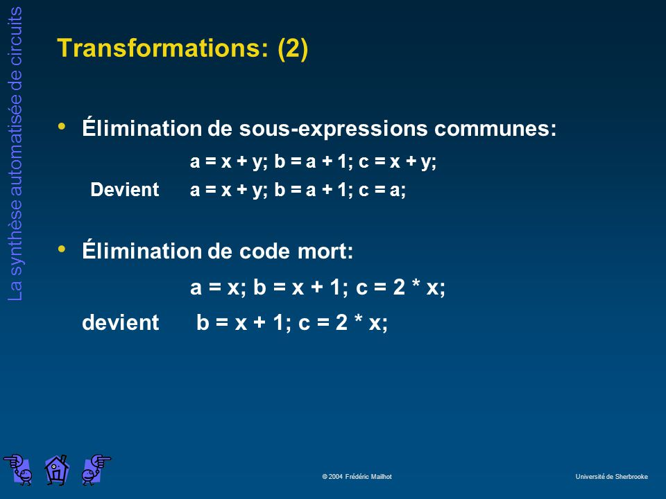 La synthèse automatisée de circuits © 2004 Frédéric Mailhot Université de Sherbrooke Transformations: (2) Élimination de sous-expressions communes: a