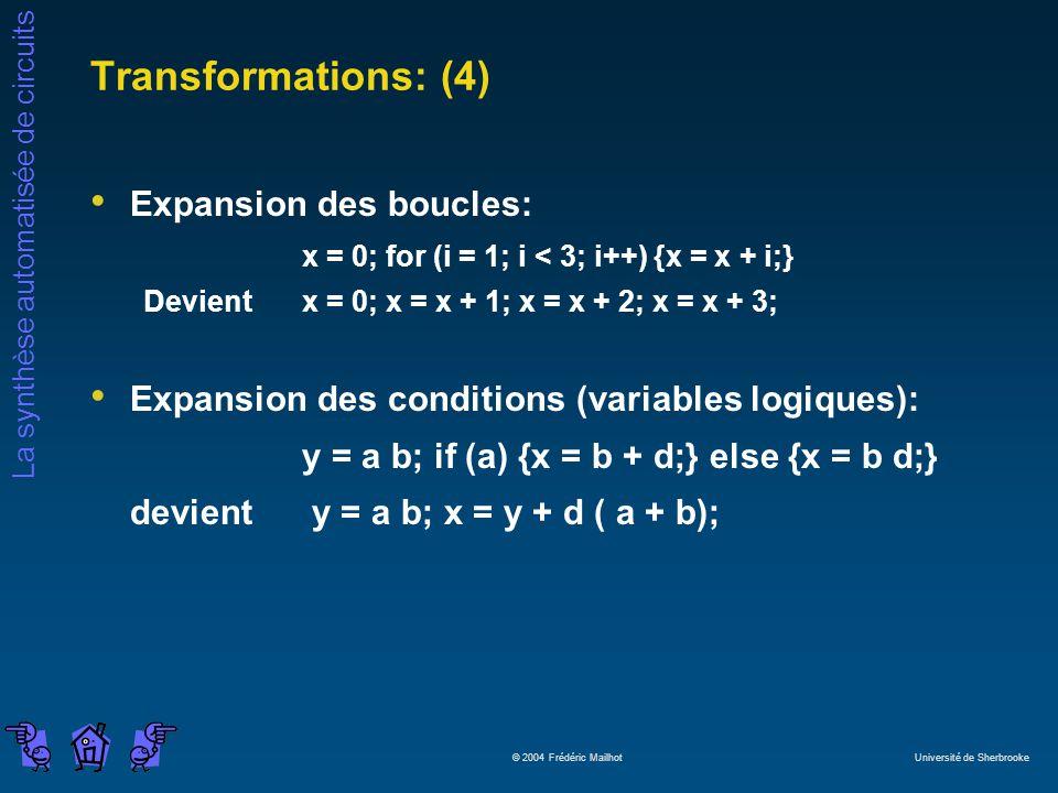 La synthèse automatisée de circuits © 2004 Frédéric Mailhot Université de Sherbrooke Transformations: (4) Expansion des boucles: x = 0; for (i = 1; i