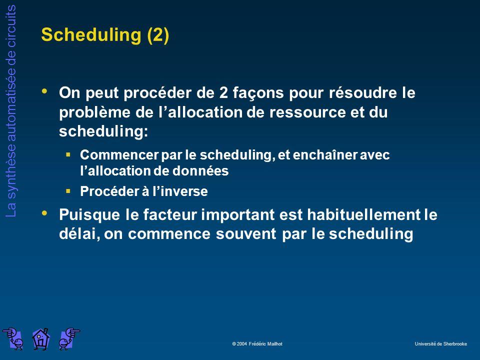 La synthèse automatisée de circuits © 2004 Frédéric Mailhot Université de Sherbrooke Scheduling (2) On peut procéder de 2 façons pour résoudre le prob
