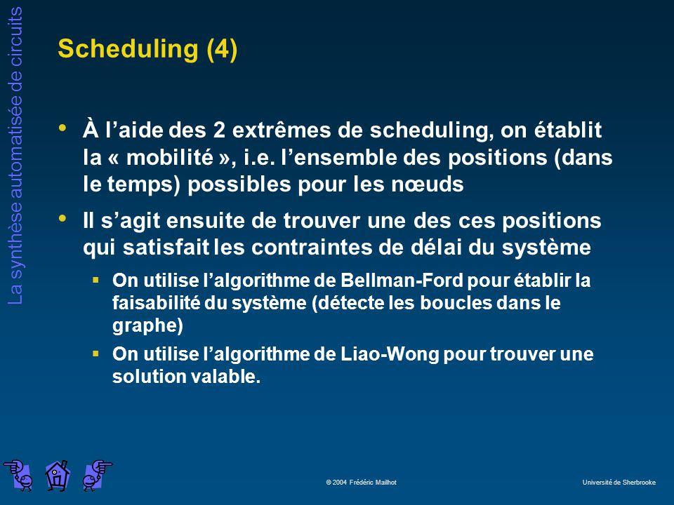 La synthèse automatisée de circuits © 2004 Frédéric Mailhot Université de Sherbrooke Scheduling (4) À laide des 2 extrêmes de scheduling, on établit l
