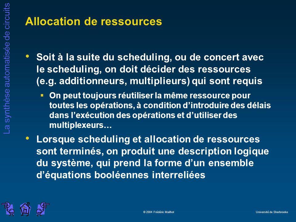 La synthèse automatisée de circuits © 2004 Frédéric Mailhot Université de Sherbrooke Allocation de ressources Soit à la suite du scheduling, ou de con