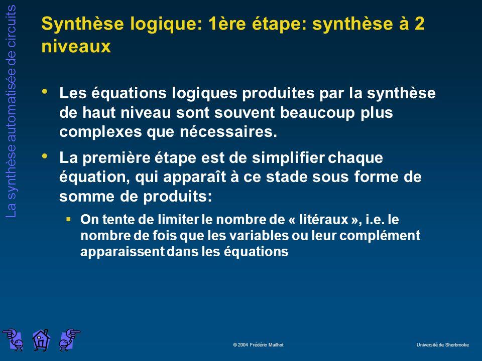 La synthèse automatisée de circuits © 2004 Frédéric Mailhot Université de Sherbrooke Synthèse logique: 1ère étape: synthèse à 2 niveaux Les équations