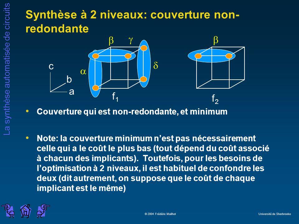 La synthèse automatisée de circuits © 2004 Frédéric Mailhot Université de Sherbrooke Couverture qui est non-redondante, et minimum Note: la couverture