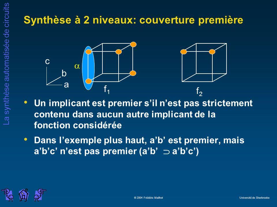 La synthèse automatisée de circuits © 2004 Frédéric Mailhot Université de Sherbrooke Un implicant est premier sil nest pas strictement contenu dans au