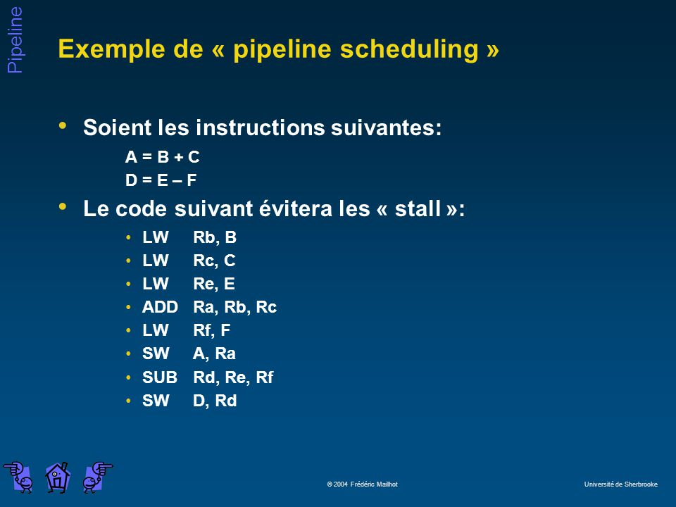 Pipeline © 2004 Frédéric Mailhot Université de Sherbrooke Exemple de « pipeline scheduling » Soient les instructions suivantes: A = B + C D = E – F Le code suivant évitera les « stall »: LWRb, B LWRc, C LWRe, E ADDRa, Rb, Rc LWRf, F SWA, Ra SUBRd, Re, Rf SWD, Rd