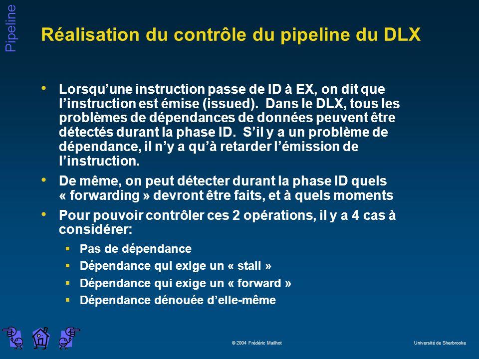 Pipeline © 2004 Frédéric Mailhot Université de Sherbrooke Réalisation du contrôle du pipeline du DLX Lorsquune instruction passe de ID à EX, on dit qu