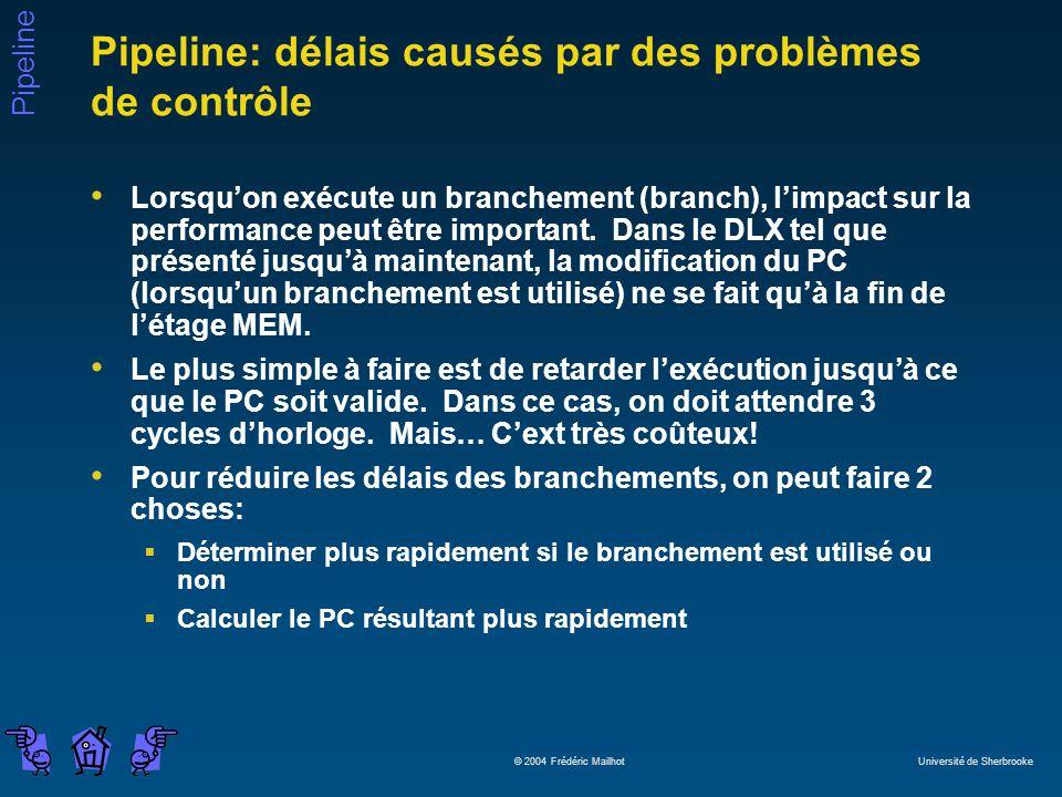 Pipeline © 2004 Frédéric Mailhot Université de Sherbrooke Pipeline: délais causés par des problèmes de contrôle Lorsquon exécute un branchement (branch), limpact sur la performance peut être important.
