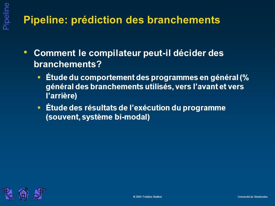 Pipeline © 2004 Frédéric Mailhot Université de Sherbrooke Pipeline: prédiction des branchements Comment le compilateur peut-il décider des branchements.