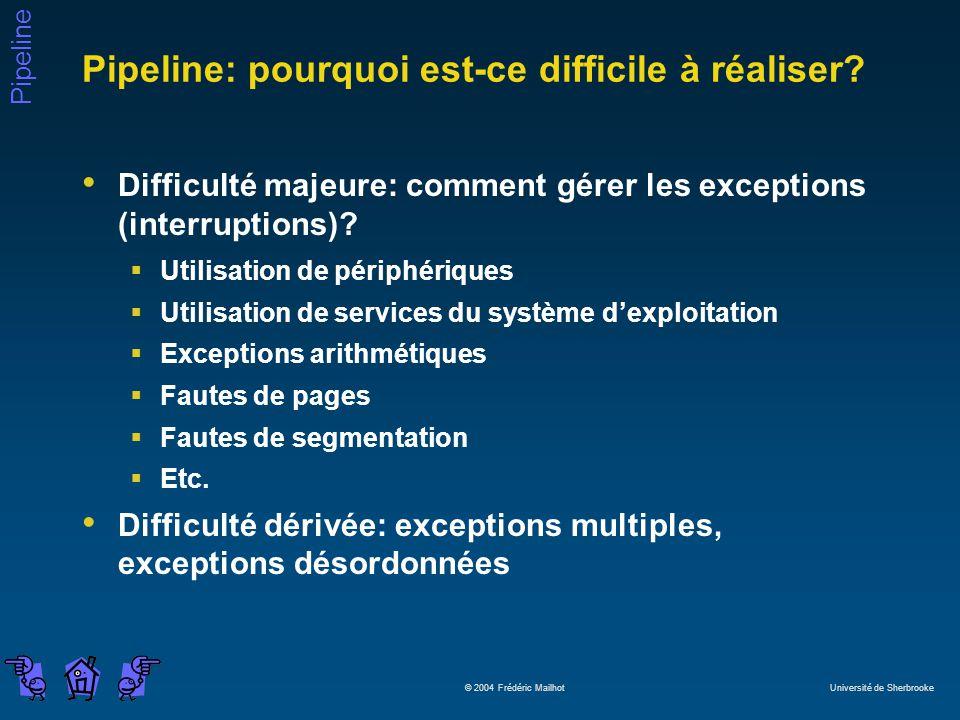 Pipeline © 2004 Frédéric Mailhot Université de Sherbrooke Pipeline: pourquoi est-ce difficile à réaliser? Difficulté majeure: comment gérer les except