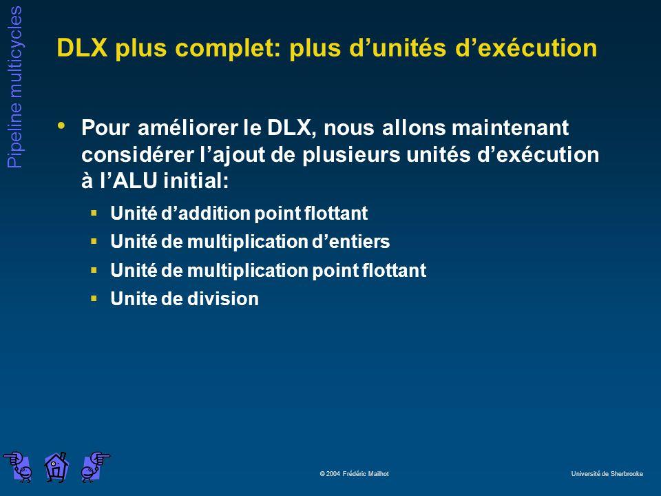 Pipeline multicycles © 2004 Frédéric Mailhot Université de Sherbrooke DLX plus complet: plus dunités dexécution Pour améliorer le DLX, nous allons mai