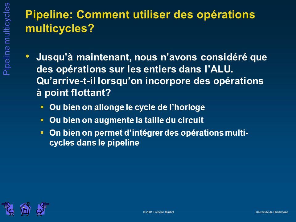 Pipeline multicycles © 2004 Frédéric Mailhot Université de Sherbrooke Pipeline: Comment utiliser des opérations multicycles? Jusquà maintenant, nous n