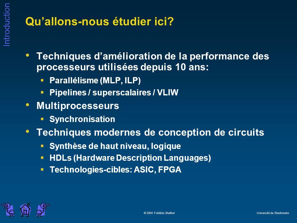 Introduction © 2004 Frédéric Mailhot Université de Sherbrooke Quallons-nous étudier ici? Techniques damélioration de la performance des processeurs ut