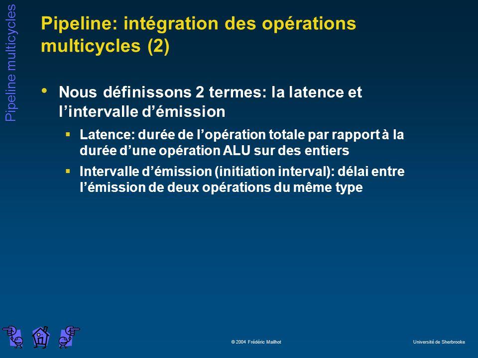 Pipeline multicycles © 2004 Frédéric Mailhot Université de Sherbrooke Pipeline: intégration des opérations multicycles (2) Nous définissons 2 termes: