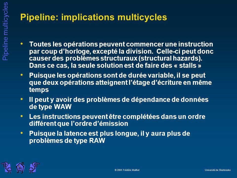 Pipeline multicycles © 2004 Frédéric Mailhot Université de Sherbrooke Pipeline: implications multicycles Toutes les opérations peuvent commencer une instruction par coup dhorloge, excepté la division.
