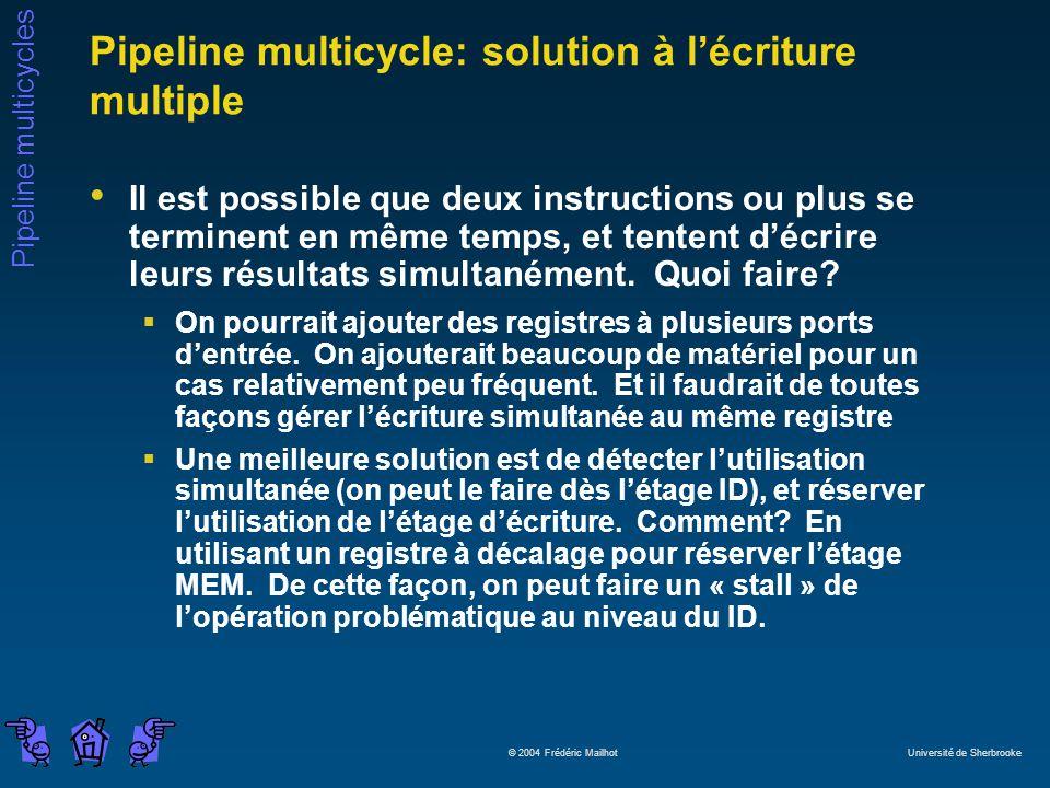 Pipeline multicycles © 2004 Frédéric Mailhot Université de Sherbrooke Pipeline multicycle: solution à lécriture multiple Il est possible que deux instructions ou plus se terminent en même temps, et tentent décrire leurs résultats simultanément.