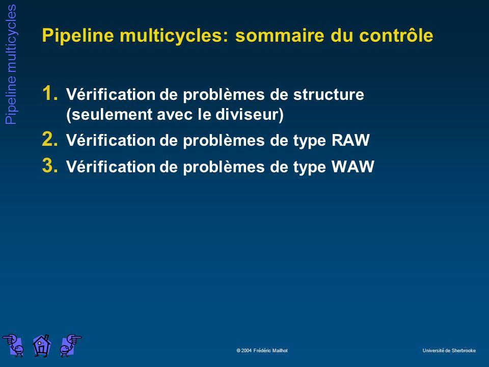 Pipeline multicycles © 2004 Frédéric Mailhot Université de Sherbrooke Pipeline multicycles: sommaire du contrôle 1. Vérification de problèmes de struc