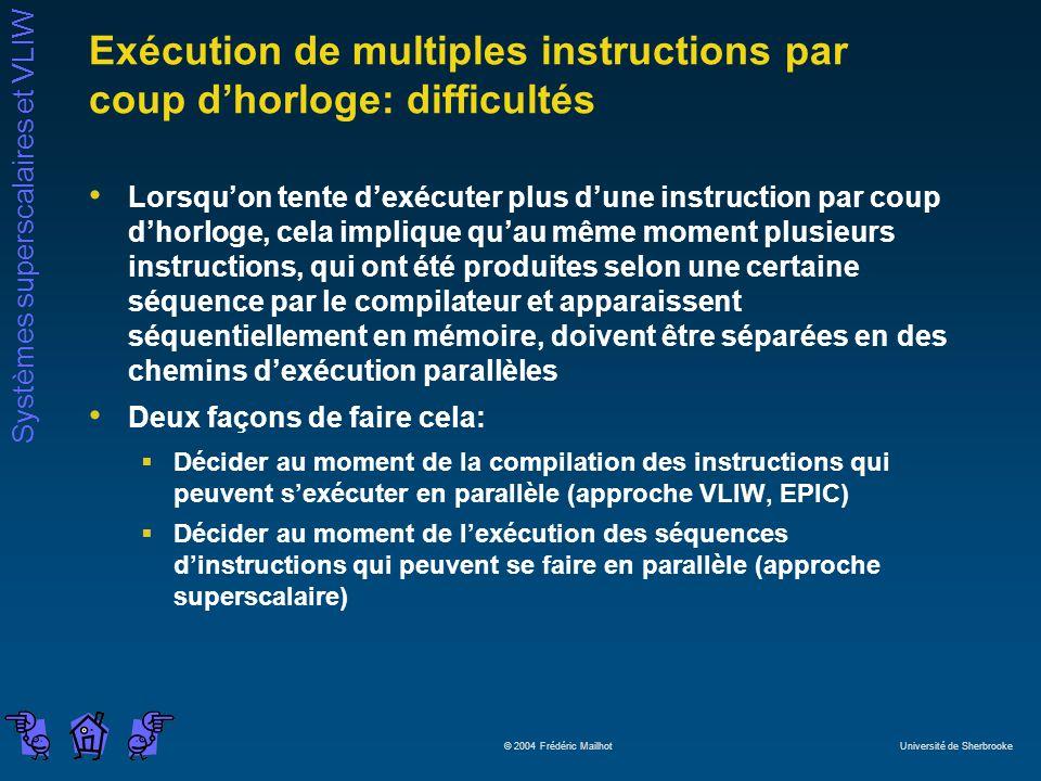 Systèmes superscalaires et VLIW © 2004 Frédéric Mailhot Université de Sherbrooke Exécution de multiples instructions par coup dhorloge: difficultés Lo